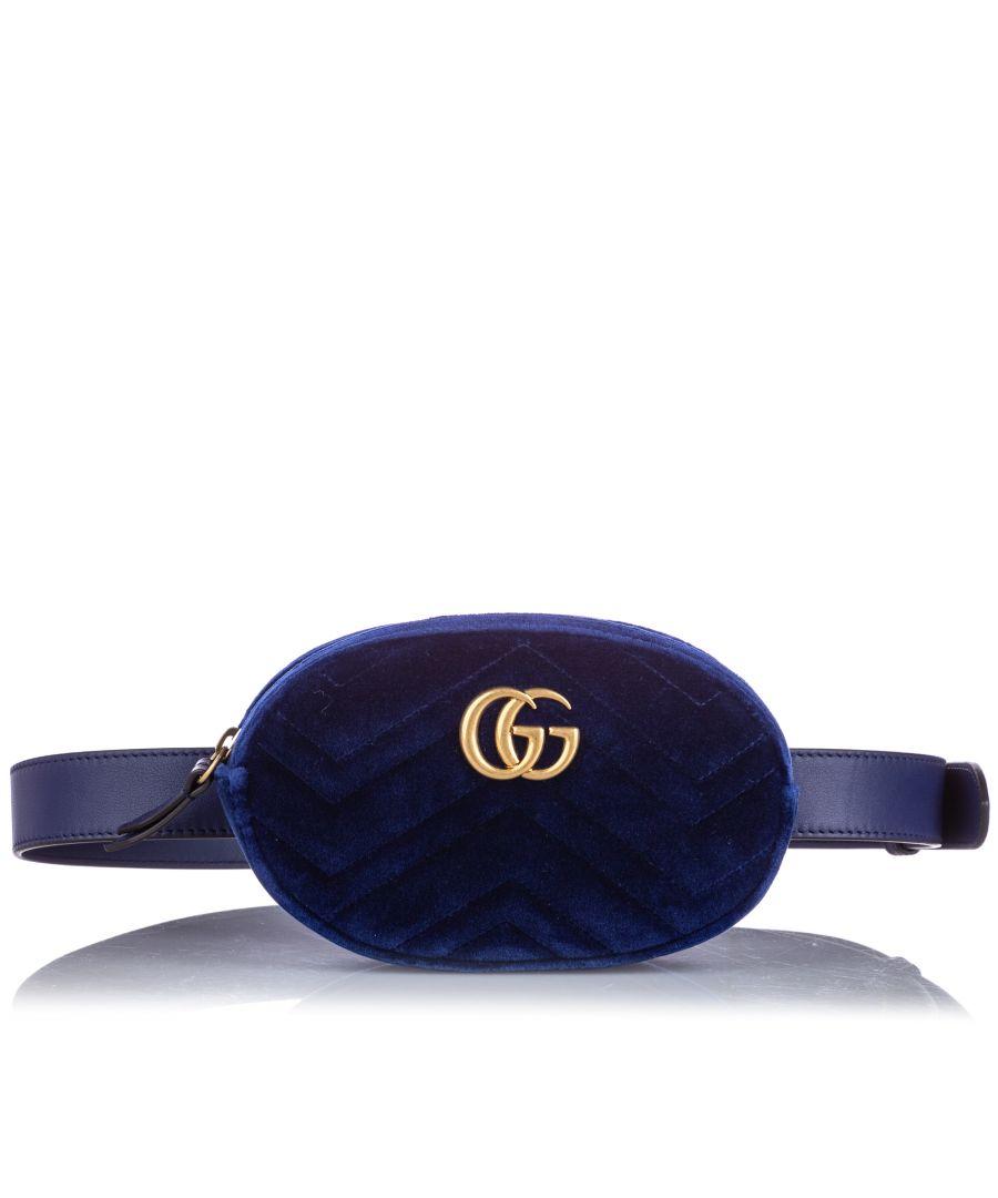 Image for Gucci GG Marmont Velvet Belt Bag Blue