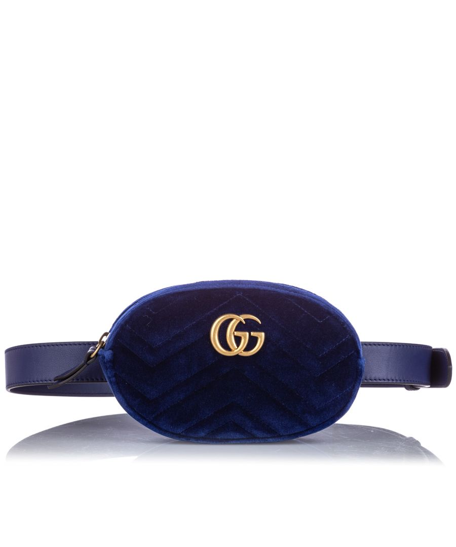 Image for Vintage Gucci GG Marmont Velvet Belt Bag Blue