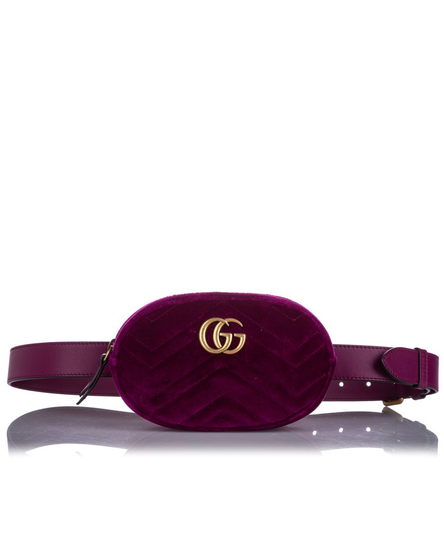 Image for Vintage Gucci GG Marmont Velvet Belt Bag Pink