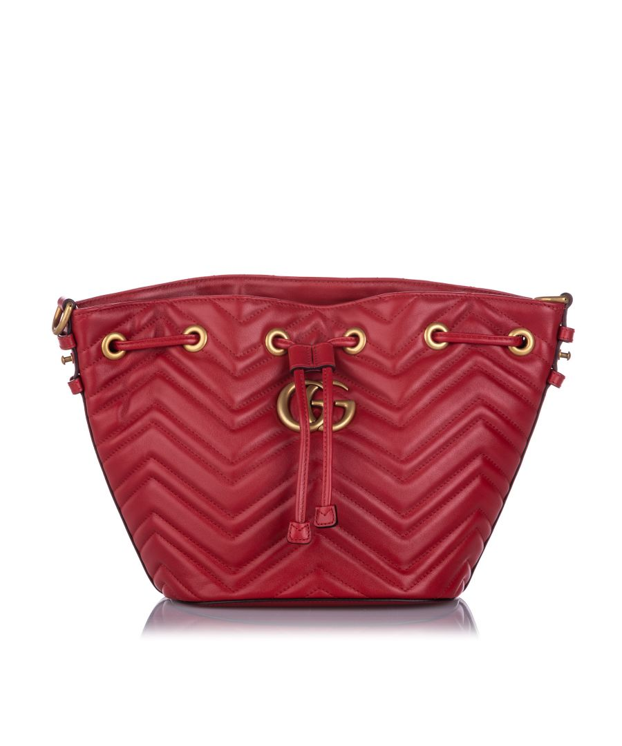 Image for Vintage Gucci GG Marmont Bucket Bag Red