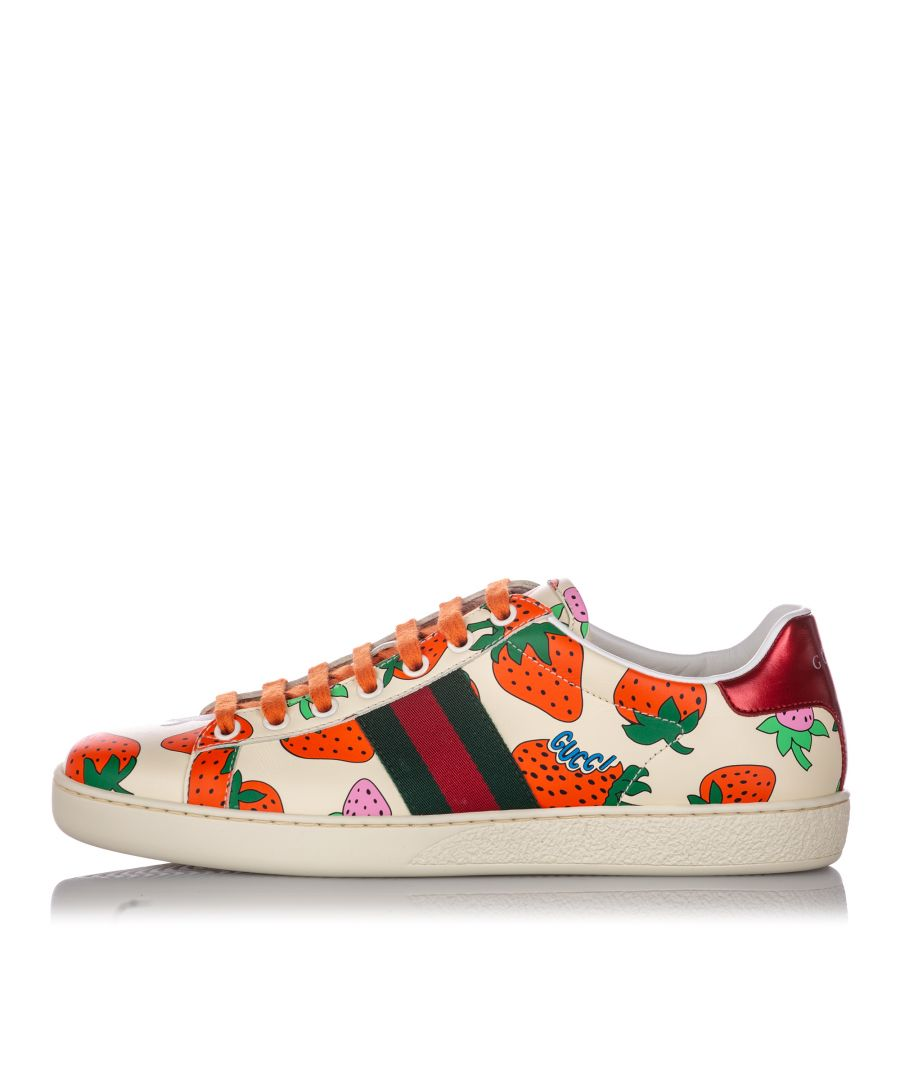 Image for Vintage Gucci Web Strawberry Ace Leather Sneaker White