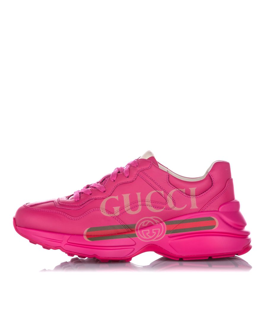 Image for Vintage Gucci Rhyton Logo Leather Sneaker Pink