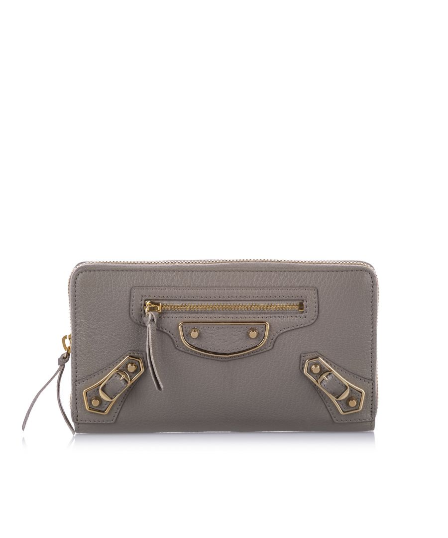 Image for Balenciaga Classic Metallic Edge Leather Long Wallet Gray