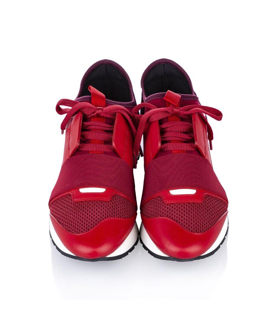 Image for Vintage Balenciaga Race Runner Monochrome Nylon Sneaker Red