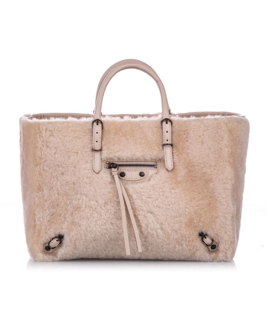 Image for Vintage Balenciaga Shearling Papier A6 Fur Satchel Pink