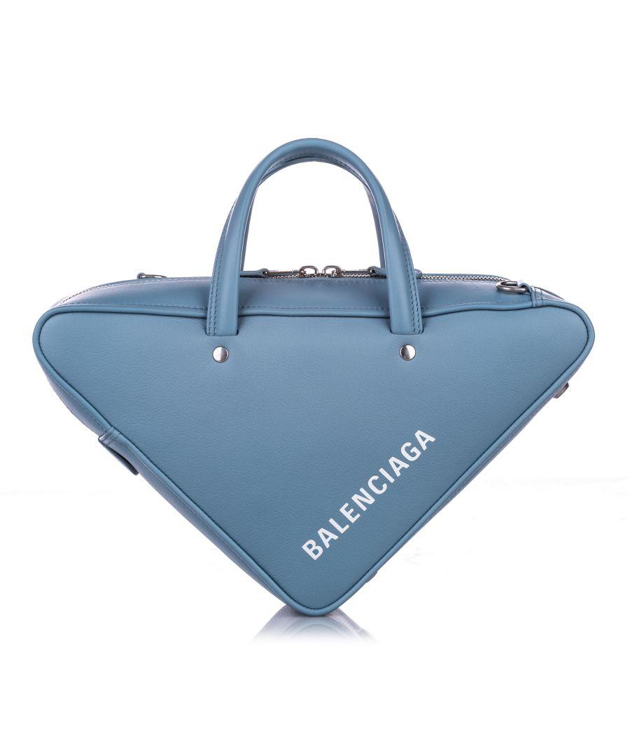 Image for Balenciaga S Triangle Leather Duffle Bag Blue