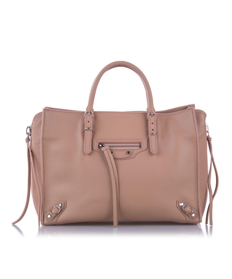 Image for Vintage Balenciaga Papier A6 Leather Zip-Around Satchel Pink