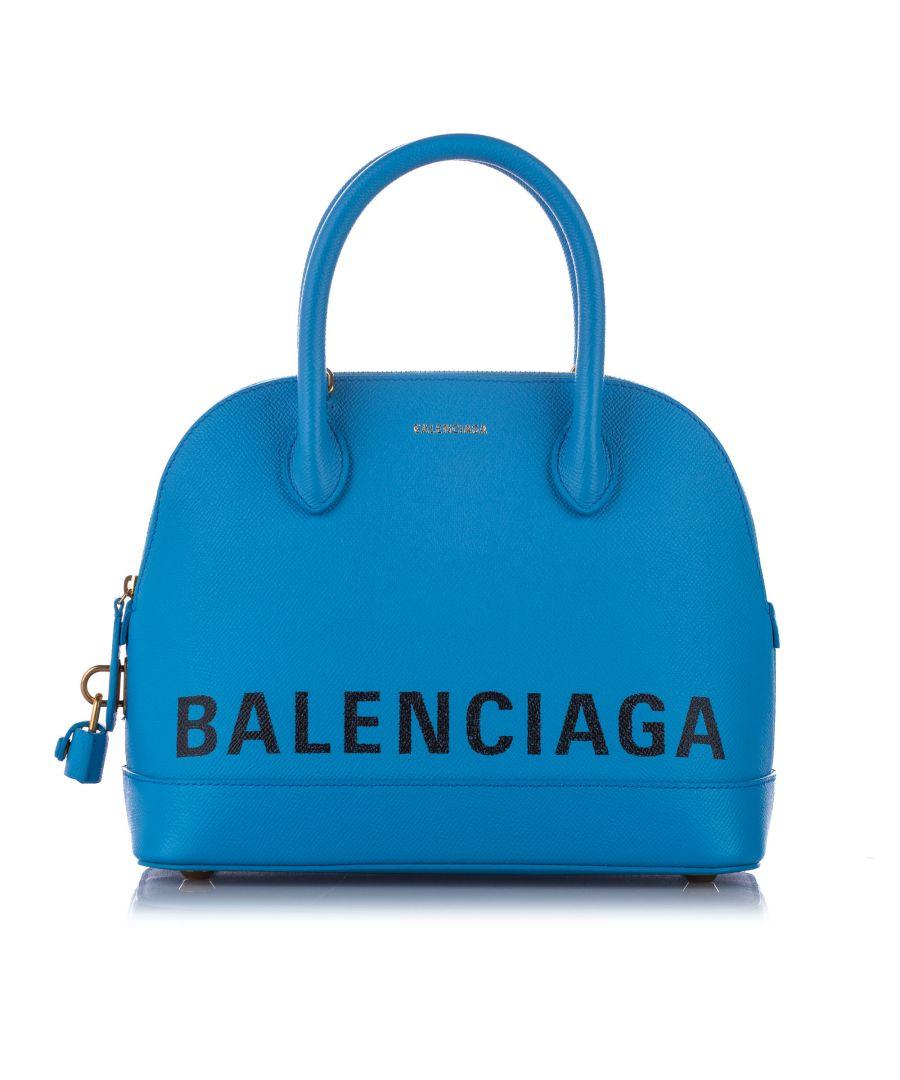 Image for Balenciaga Ville Leather Satchel Blue