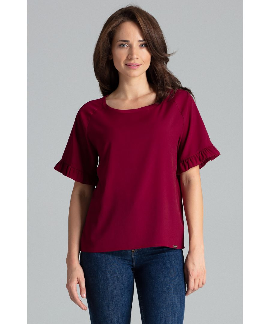 Image for Deep Red Short - Sleeved Blouse With a Frill