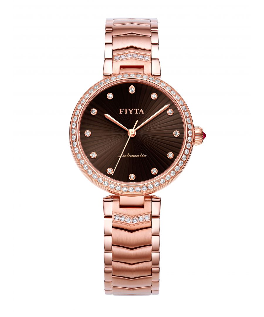 Image for Fiyta Ladies Automatic Rose Gold Floriography Watch