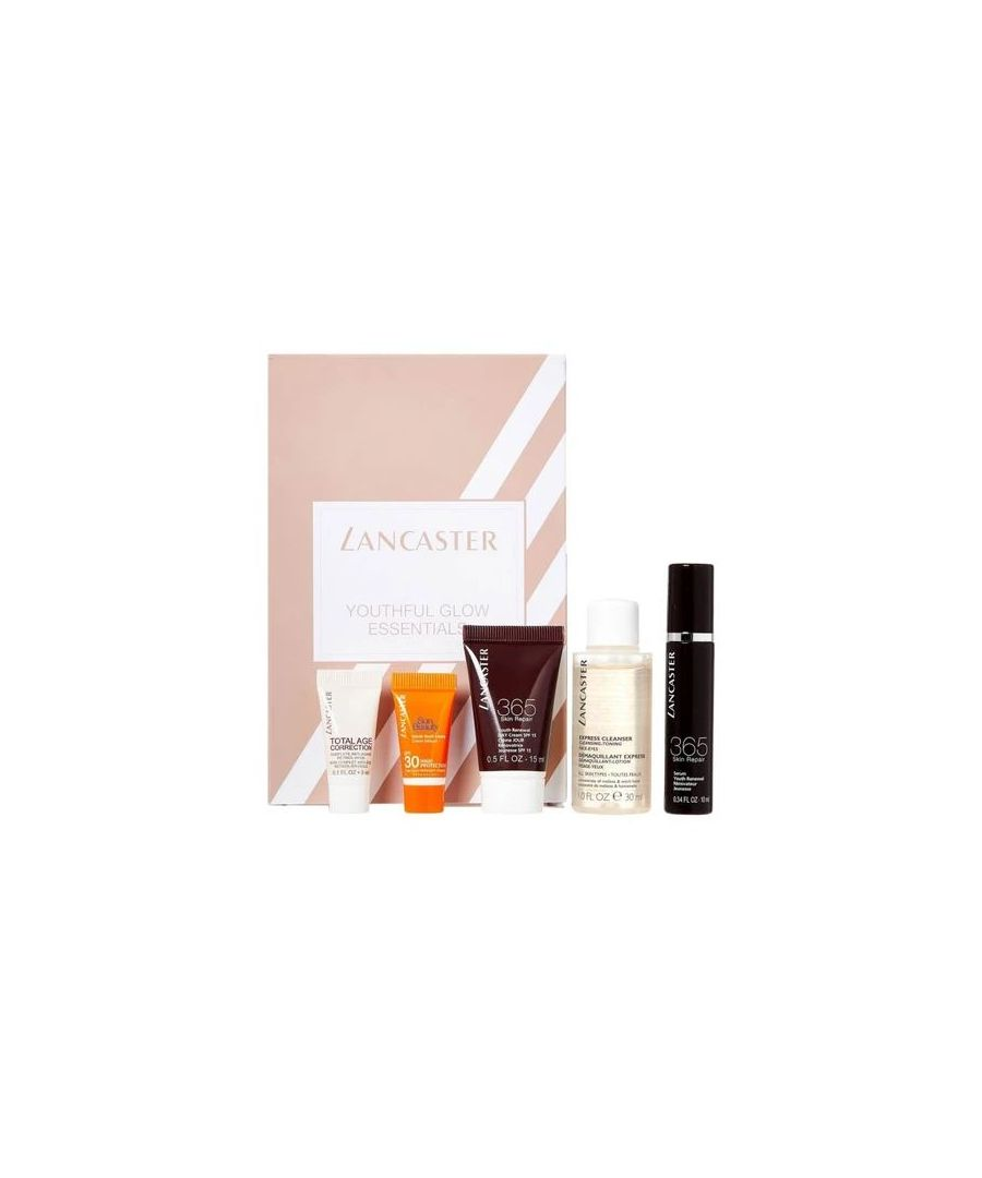 Image for LANCASTER YOUTHFUL GLOW ESSENTIALS: 3ml Total Age Correction Retinol-In-Oil Serum, 30ml Sun Beauty Velvet Touch Cream SPF30, 15ml 365 Skin Repair Day Cream SPF15, 30ml Express Cleanser, 10ml 365 Skin Repair Youth Renewal Serum