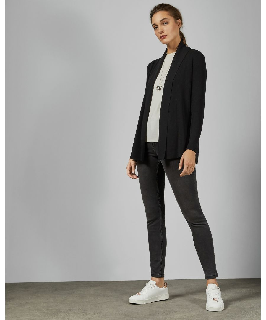 Image for Ted Baker Leby Woven Detail Knitted Cardigan, Black