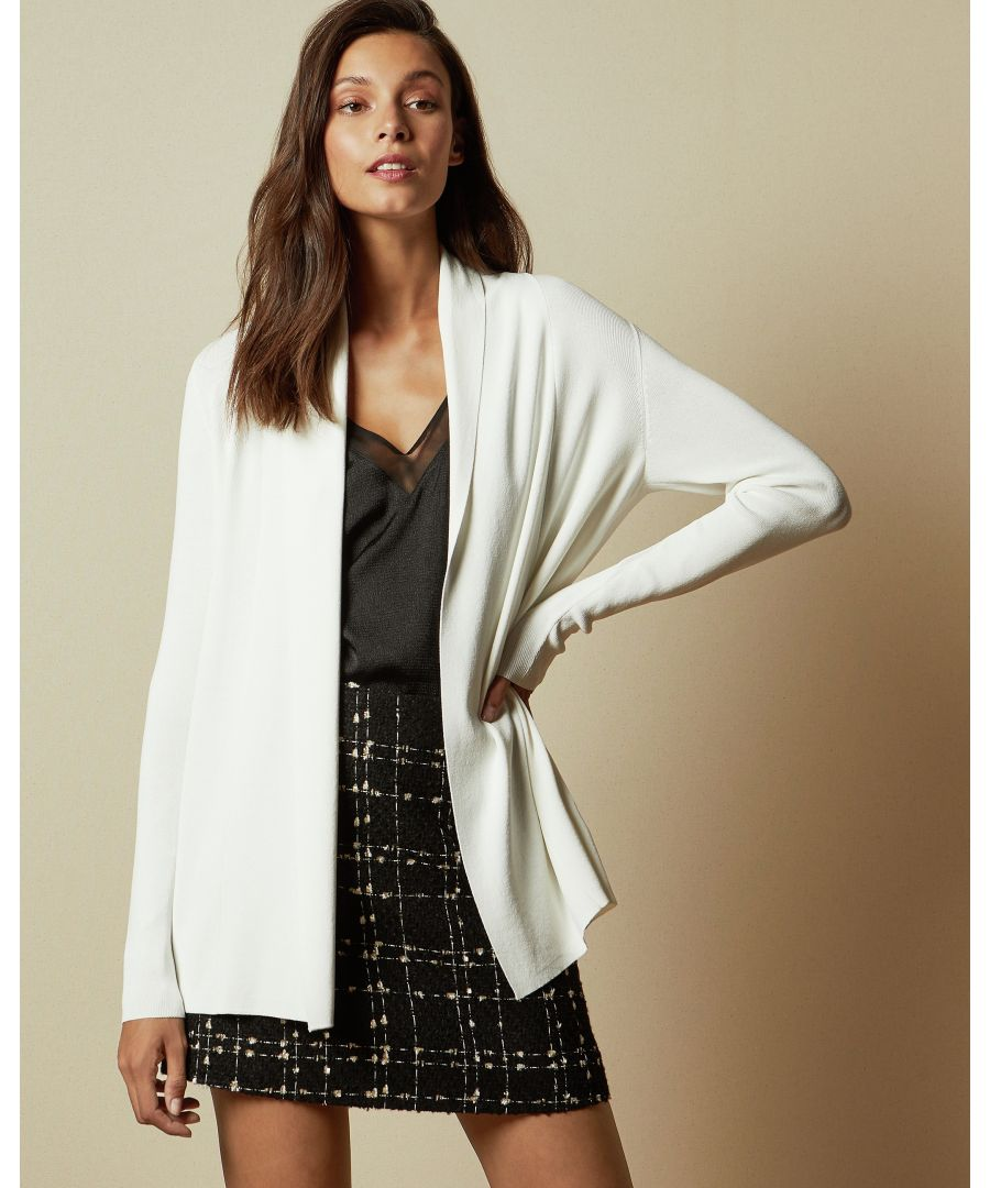 Image for Ted Baker Leby Woven Detail Knitted Cardigan, Ivory