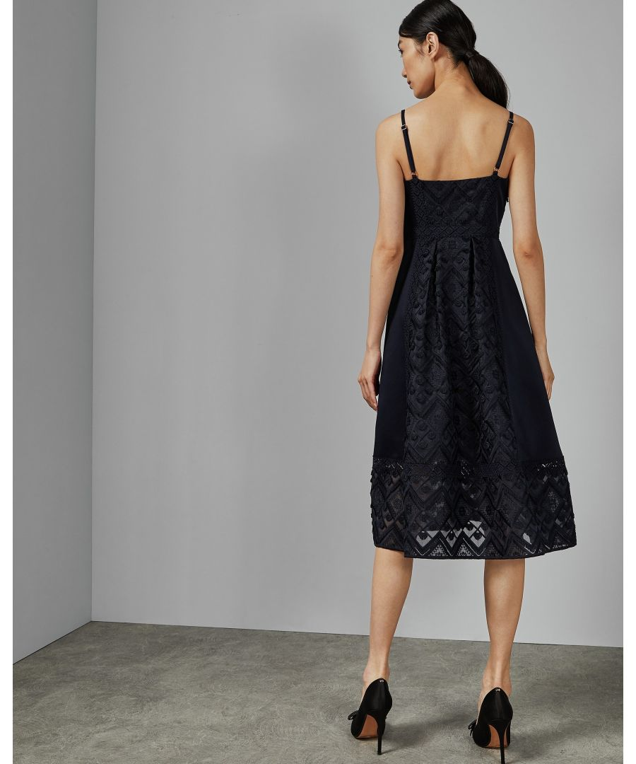 Image for Ted Baker Leeeo Mixed Geo Lace Midi Dress, Navy