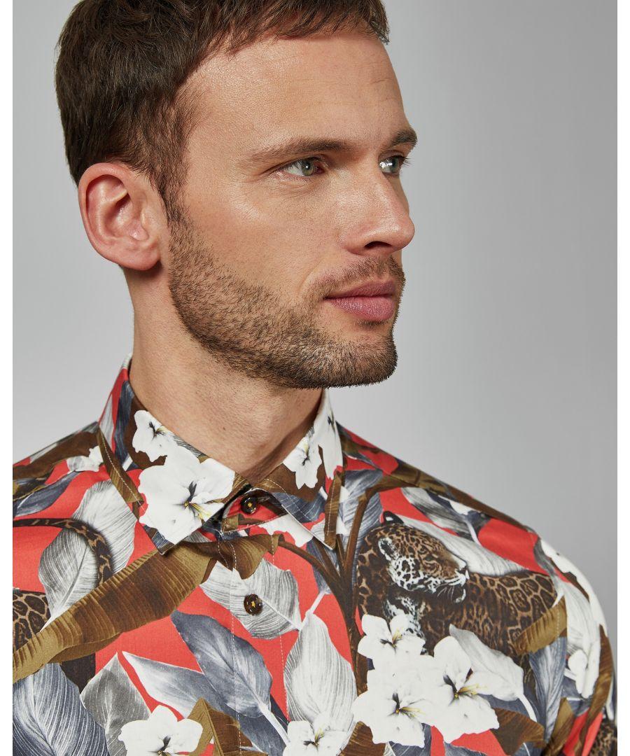 Image for Ted Baker Lepflo Long-Sleeved Global Floral Leopard Shirt, Red