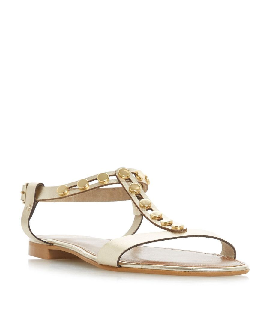 Image for Dune Ladies LEXXA Gold Stud H-Bar Flat Sandal