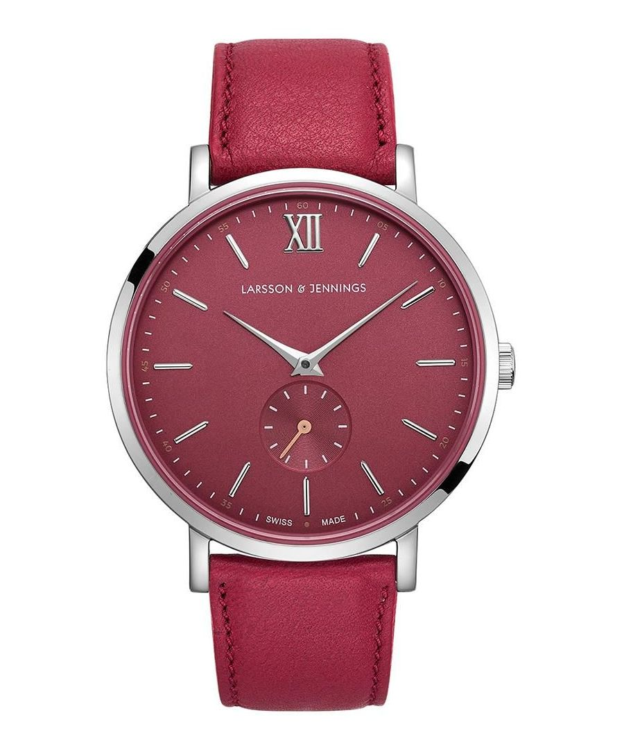 Image for Jura Leather 38mm Silver Red