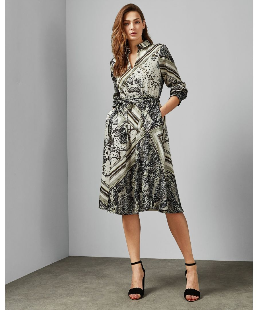 Image for Ted Baker Llouise Shirred Waist Midi Shirt Dress, Taupe