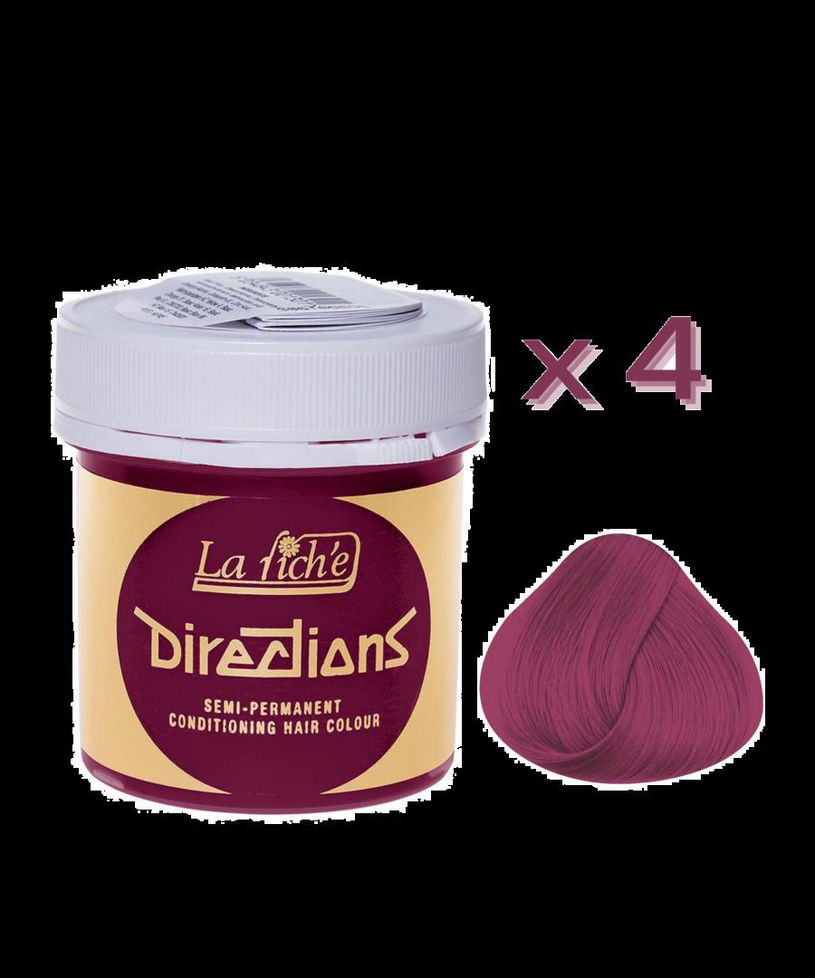 Image for 4 x La Riche Directions Semi-Permanent Hair Color 88ml Tubs - CERISE
