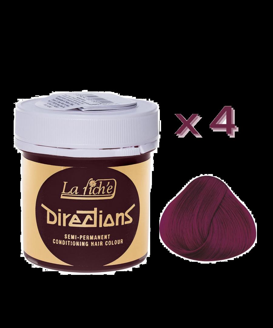 Image for 4 x La Riche Directions Semi-Permanent Hair Color 88ml Tubs - DARK TULIP