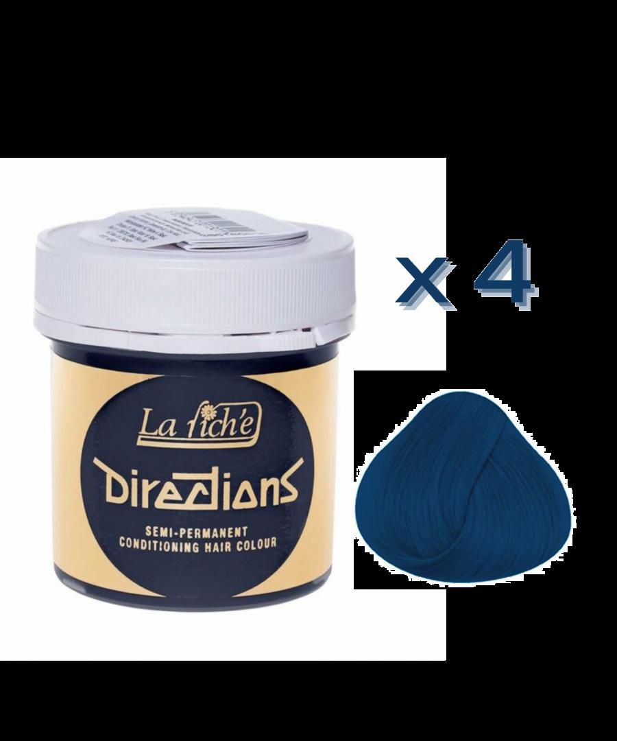 Image for 4 x La Riche Directions Semi-Permanent Hair Color 88ml Tubs - DENIM BLUE