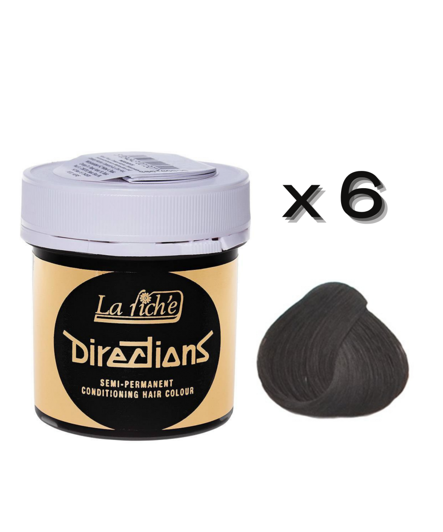 Image for 6 x La Riche Directions Semi-Permanent Hair Color 88ml Tubs - EBONY