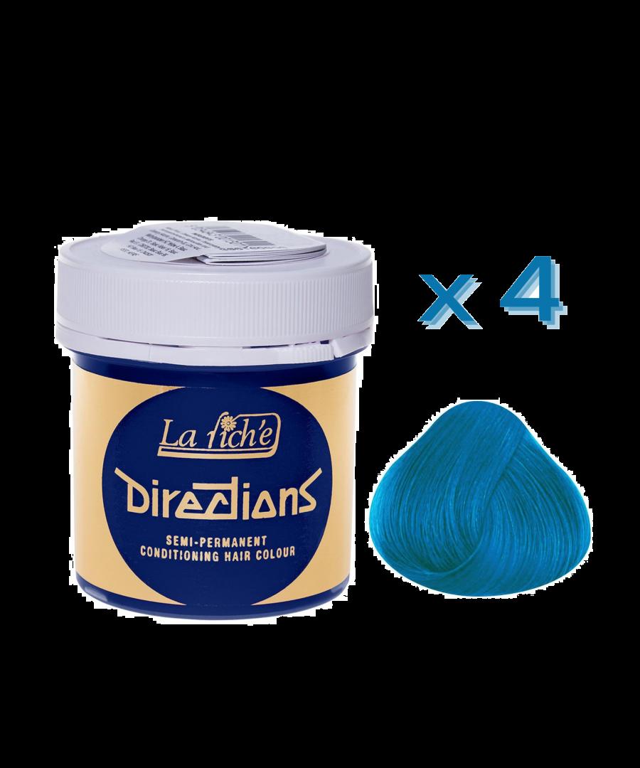 Image for 4 x La Riche Directions Semi-Permanent Hair Color 88ml Tubs - LAGOON BLUE