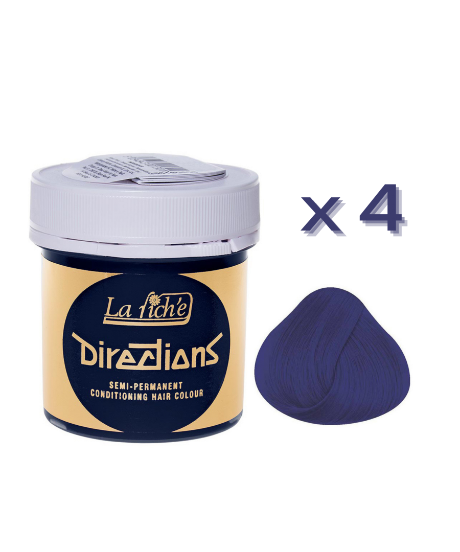 Image for 4 x La Riche Directions Semi-Permanent Hair Color 88ml Tubs - NEON BLUE