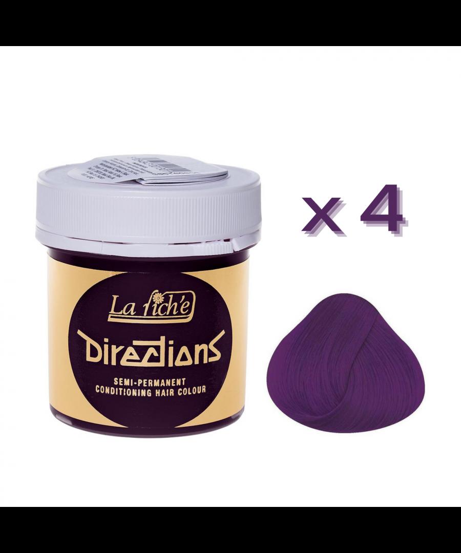 Image for 4 x La Riche Directions Semi-Permanent Hair Color 88ml Tubs - PLUM