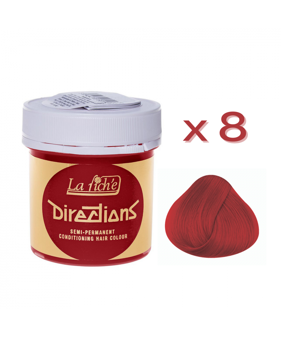 Image for 8 x La Riche Directions Semi-Permanent Hair Color 88ml Tubs - POPPY RED