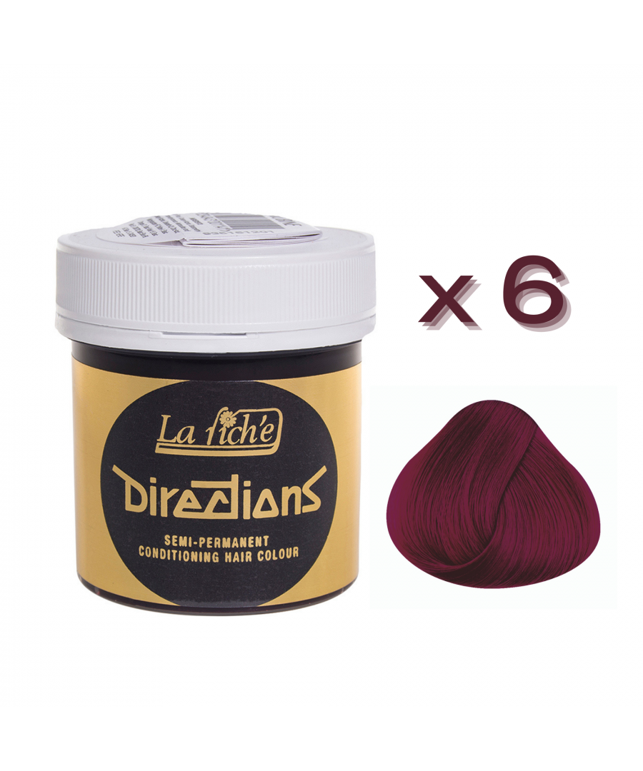 Image for 6 x La Riche Directions Semi-Permanent Hair Color 88ml Tubs - RUBINE