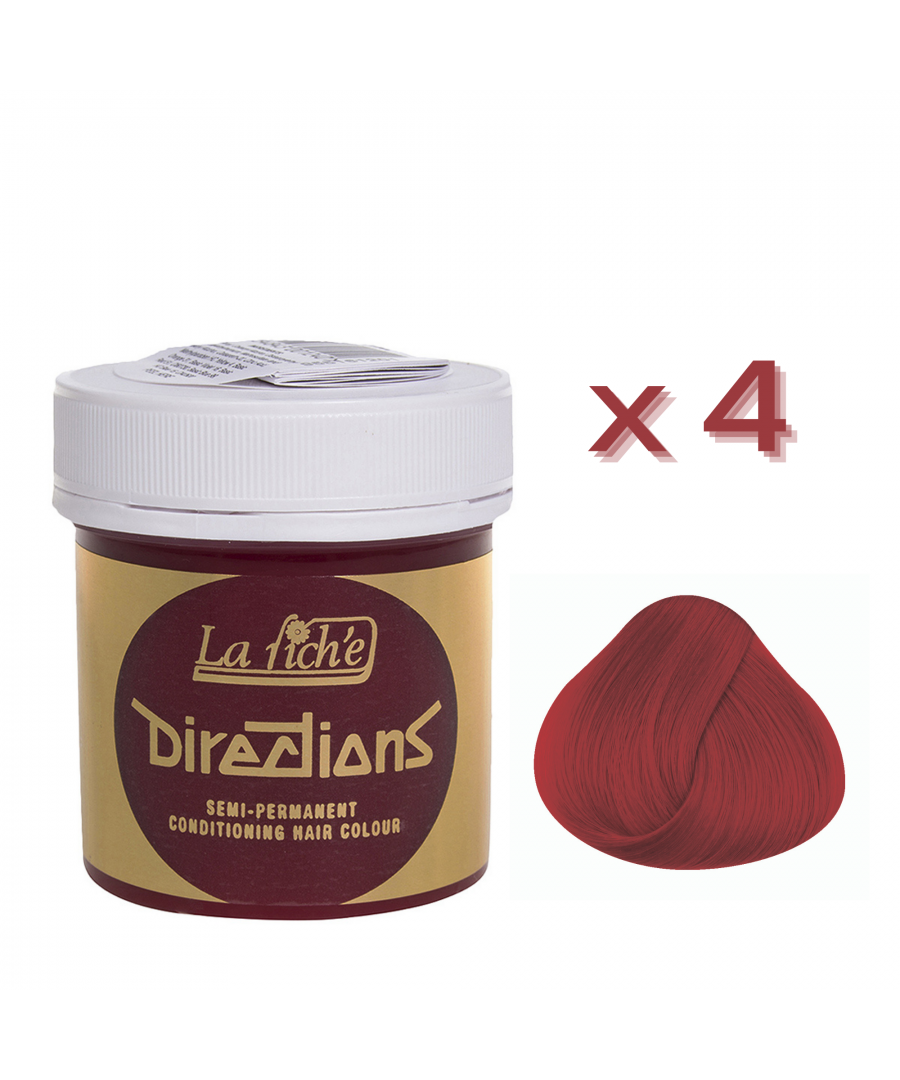 Image for 4 x La Riche Directions Semi-Permanent Hair Color 88ml Tubs - VERMILLION RED