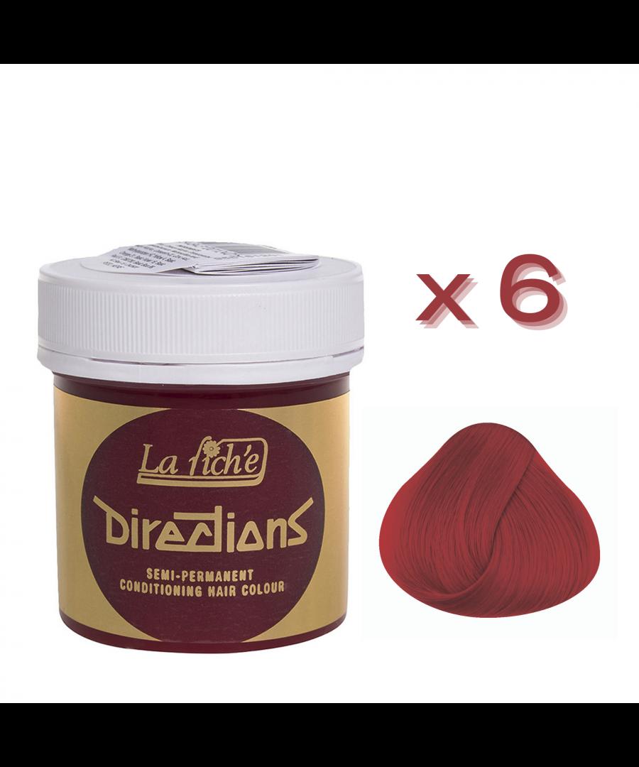 Image for 6 x La Riche Directions Semi-Permanent Hair Color 88ml Tubs - VERMILLION RED