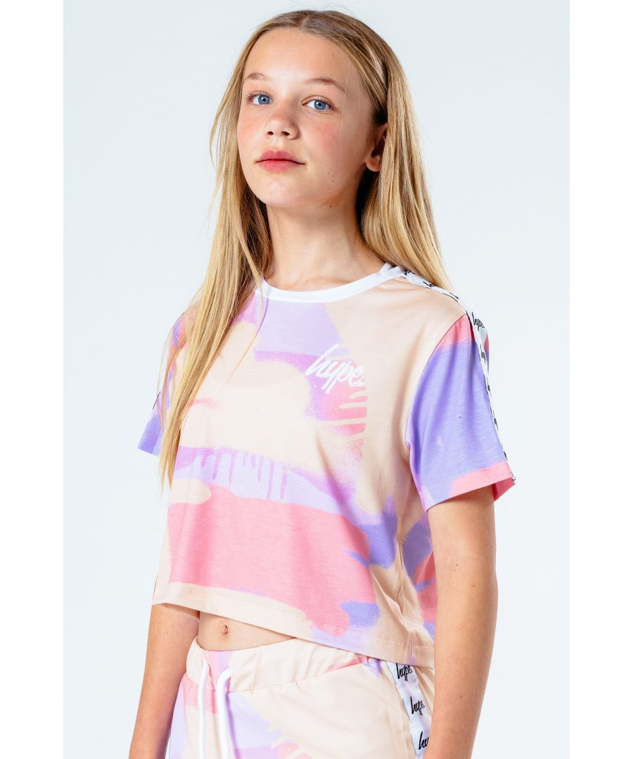 Image for Hype Peach Taped Spray Kids Crop T-Shirt
