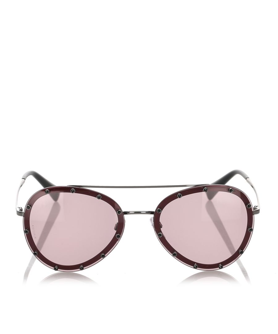 Image for Valentino Crystal Embellished Aviator Sunglasses Red