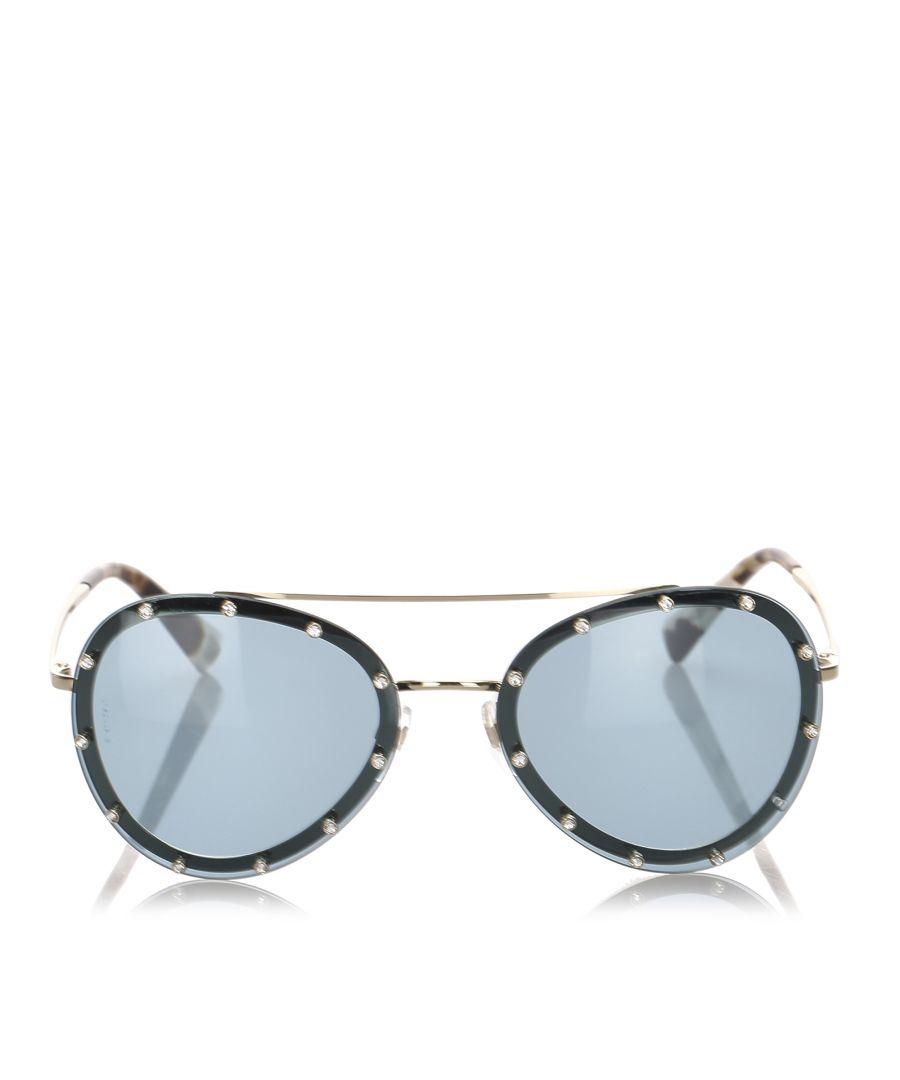 Image for Valentino Crystal Embelished Aviator Sunglasses Green
