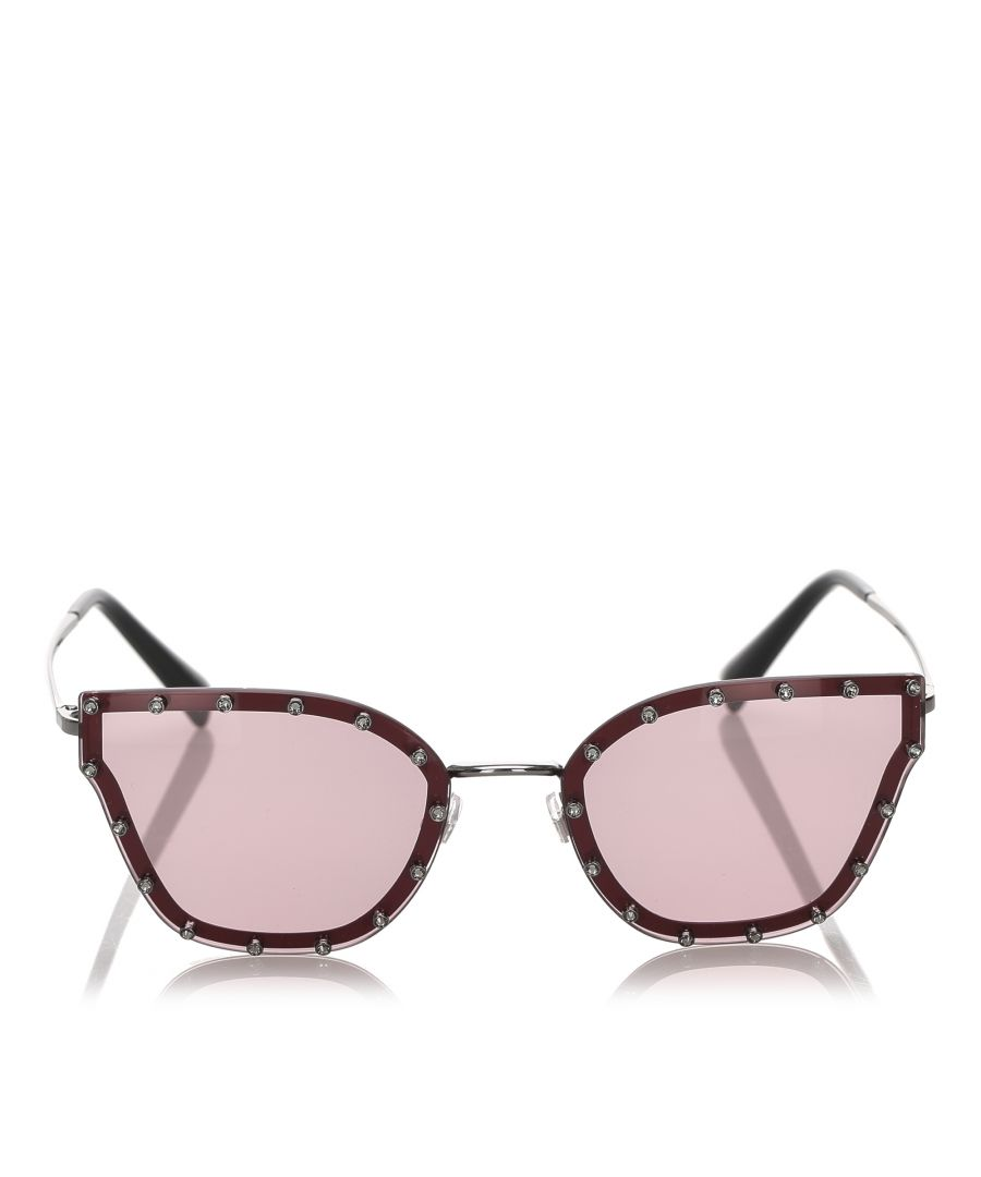 Image for Valentino Crystal Embelished Square Sunglasses Red