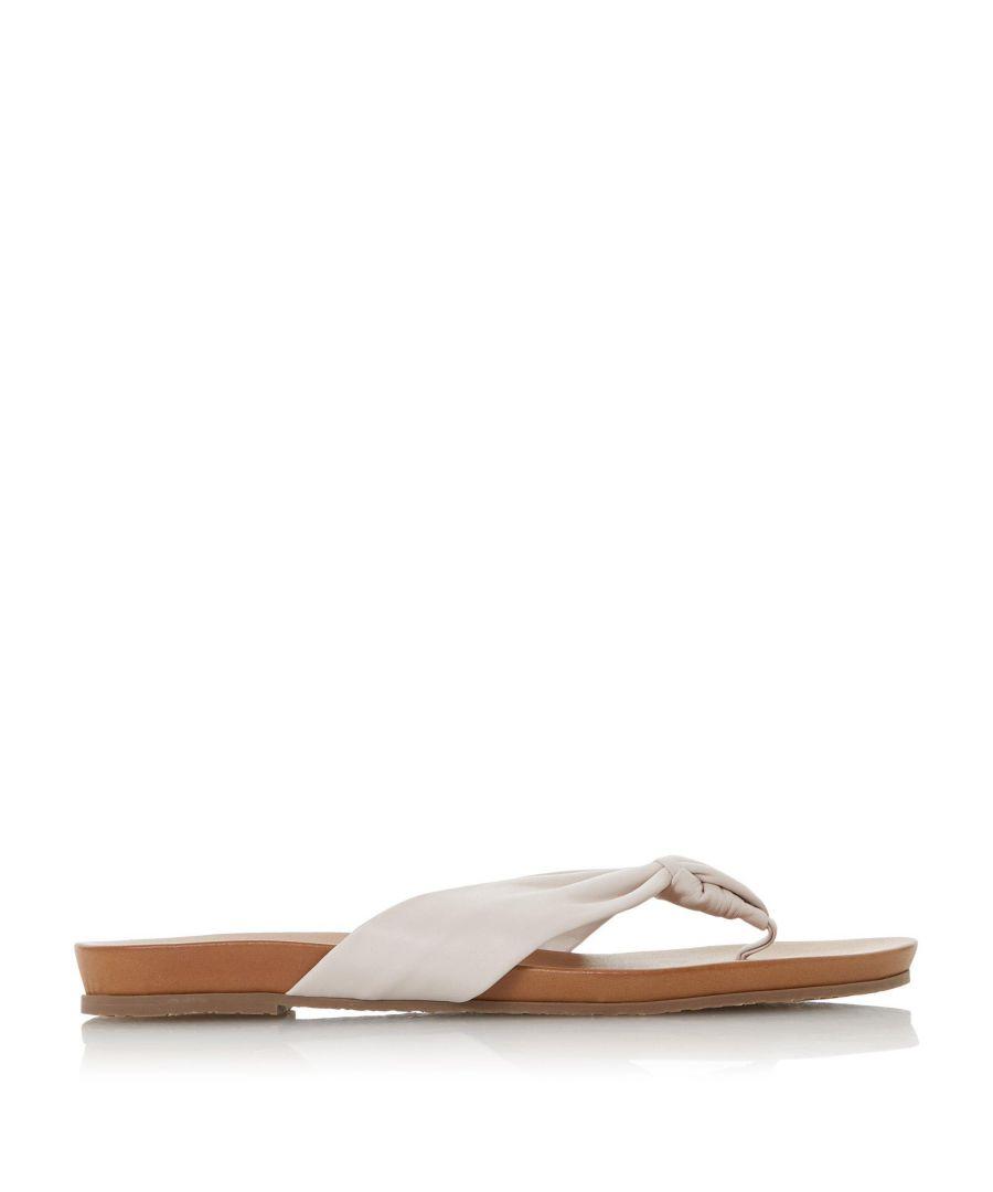 Image for Dune Ladies LYRIK Tan Leather Ruched Toe Post Sandals