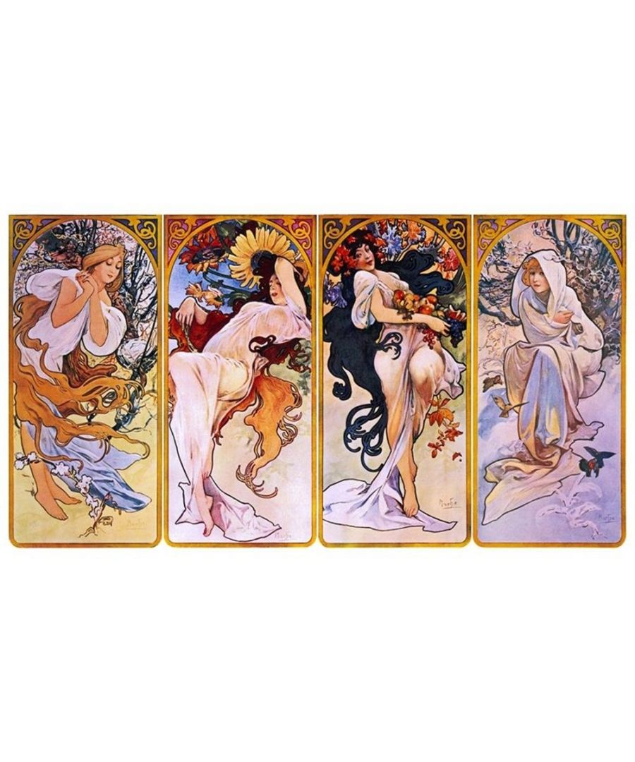 Image for Canvas Print - The Four Seasons - Alphonse Mucha Cm. 160x90 (4 Panels)