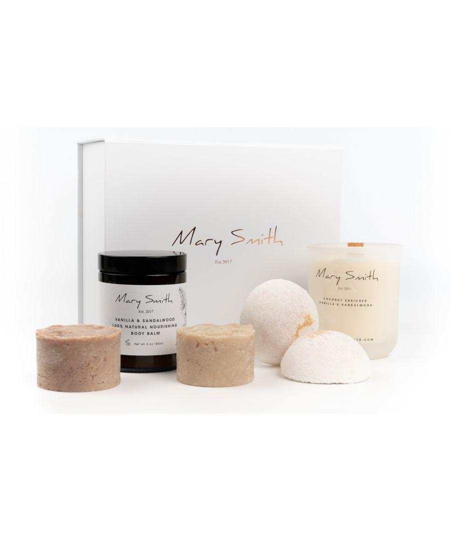Image for Mary Smith Complete Bath & Body Set  with 100% Naturally Scented Beeswax Candle- Vanilla & Sandalwood