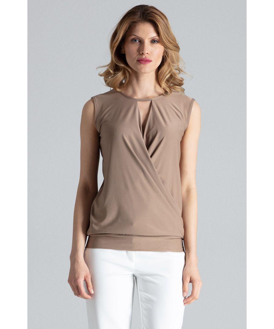 Image for Beige Elegant Sleeveless Wrap Top