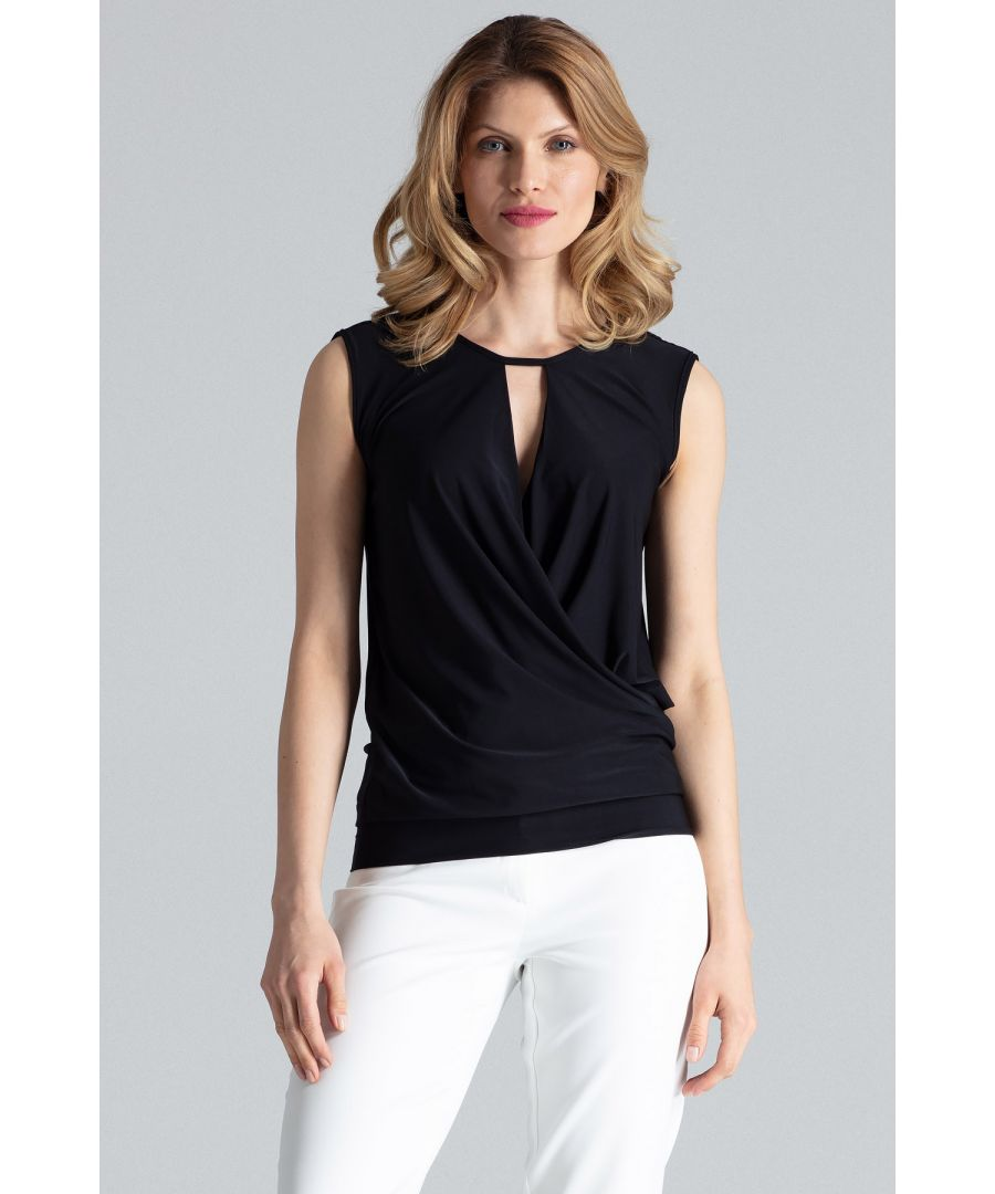 Image for Black Elegant Sleeveless Wrap Top