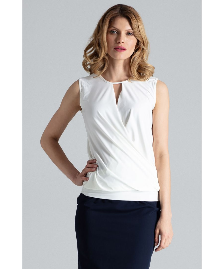 Image for Beige Sleeveless Wrap Top