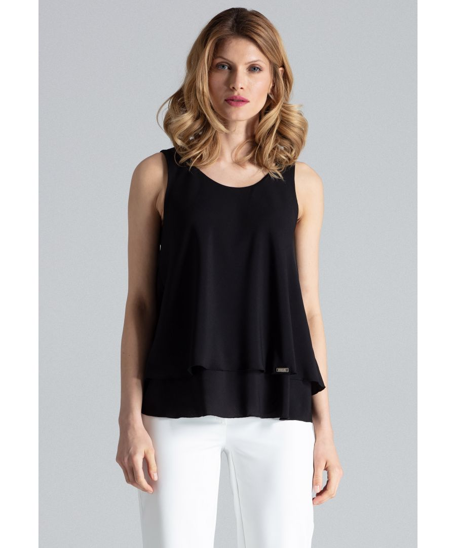 Image for Black Double-Layer Sleeveless Top