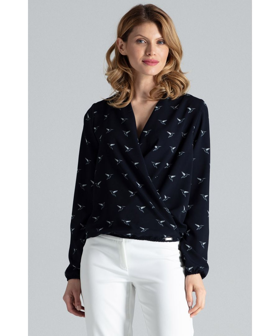 Image for Navy Patterned Wrap Shirt