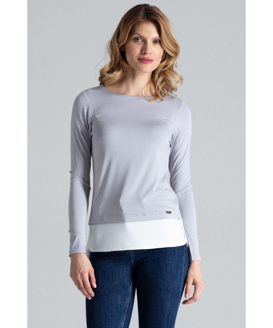 Image for Grey Asymmetrical Long Sleeve Top