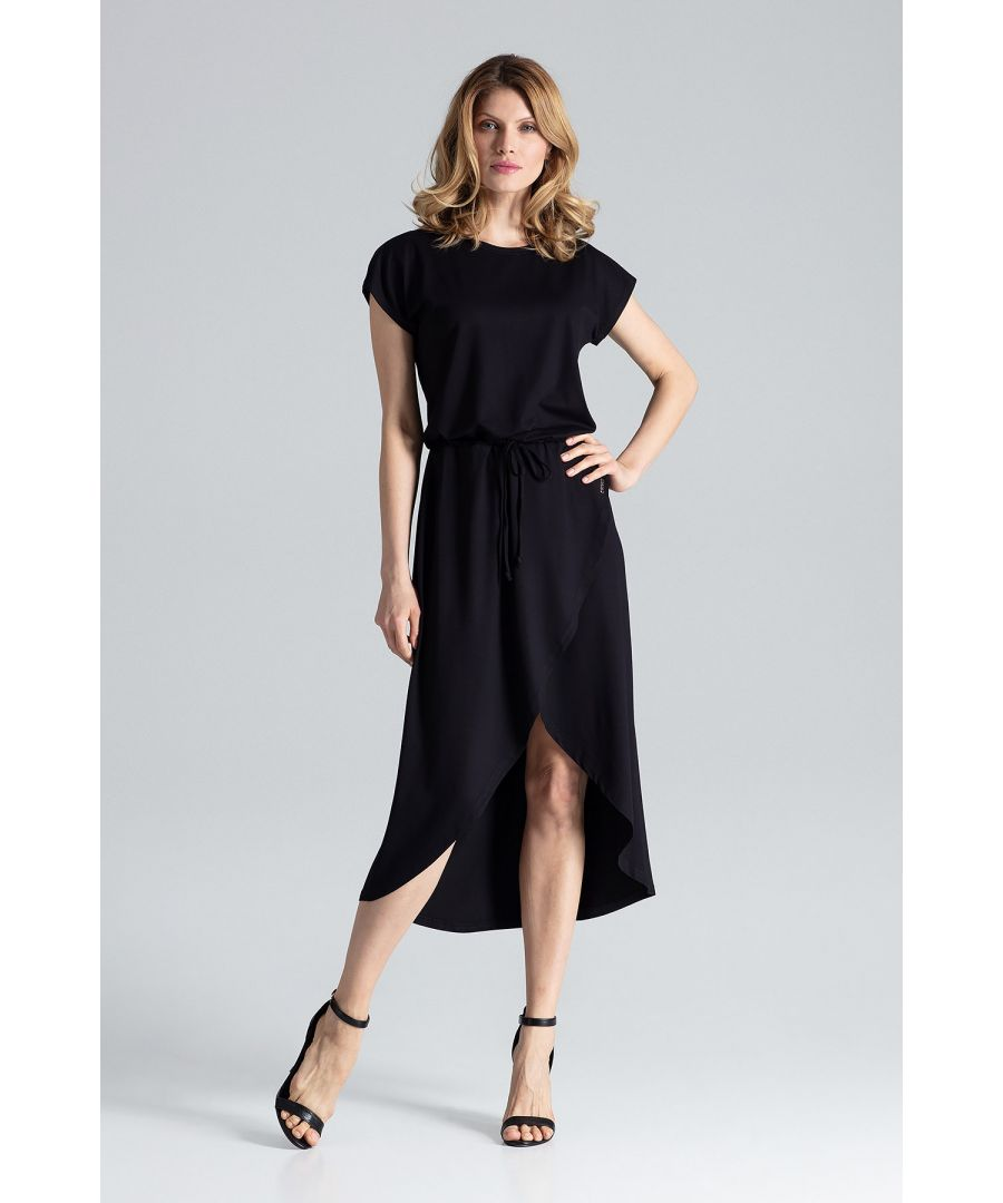 Image for Asymmetrical wrap dress with short sleeves