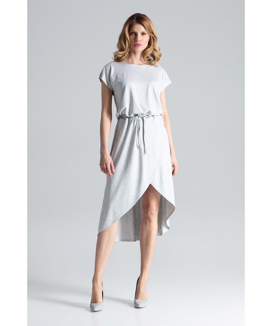 Image for Grey Asymmetrical Wrap Dress With Short Sleeves