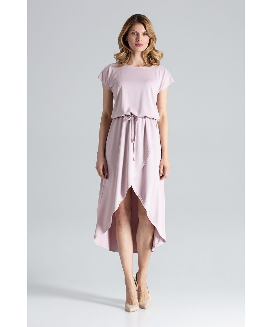 Image for Pink Asymmetrical Wrap Dress With Short Sleeves