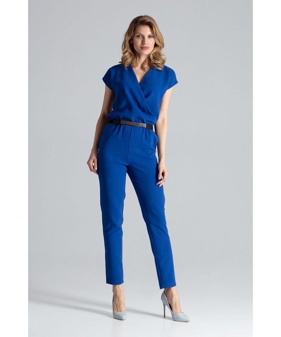 Image for Blue Long Belted Jumpsuit
